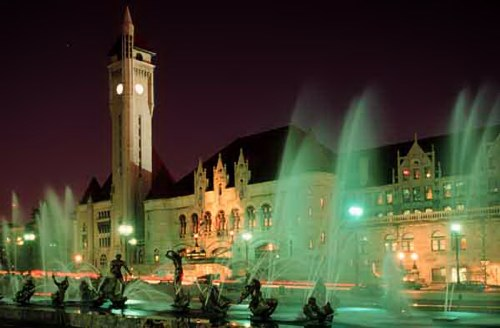 Union station and Milles Fountain
