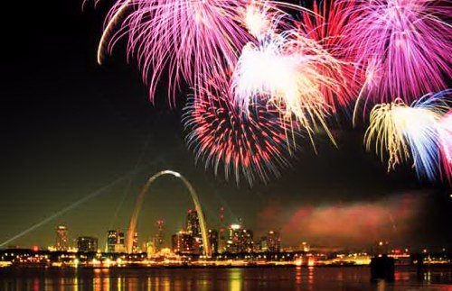 Saint Louis skyline with fireworks